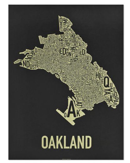 "Oakland Neighborhood Map Screenprint, Black & Gold, 18"" x 24"""