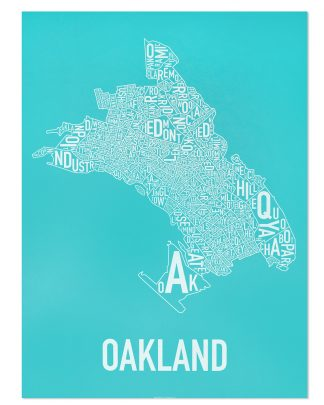 "Oakland Neighborhood Map Screenprint, Cyan & White, 18"" x 24"""