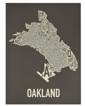 "Oakland Neighborhood Map Screenprint, Brown & Ivory, 18"" x 24"""