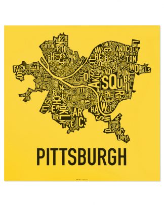 "Pittsburgh Neighborhood Map Screenprint, Yellow & Black, 18"" x 18"""