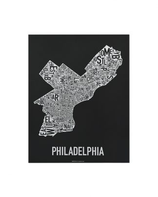 "Philadelphia Neighborhood Map Screenprint, Black & White, 11"" x 14"""
