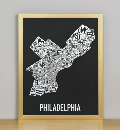 "Framed Philadelphia Neighborhood Map Screenprint, Black & White, 11"" x 14"" in Bronze Frame"