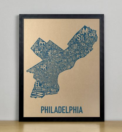 "Framed Philadelphia Neighborhood Map, Gold & Blue Screenprint, 11"" x 14"" in Black Frame"