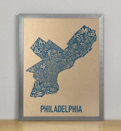 "Framed Philadelphia Neighborhood Map, Gold & Blue Screenprint, 11"" x 14"" in Steel Grey Frame"