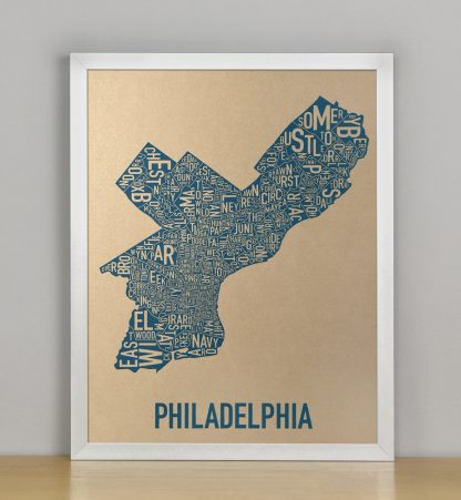 "Framed Philadelphia Neighborhood Map, Gold & Blue Screenprint, 11"" x 14"" in Silver Frame"