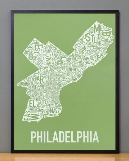 """Framed Philadelphia Neighborhood Map Screenprint, Green & White, 18"""" x 24"""" in Black Frame"""