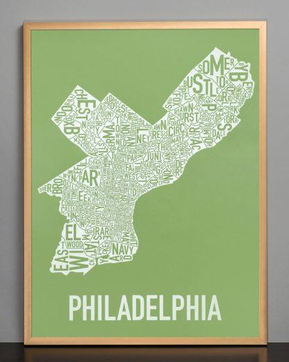 """Framed Philadelphia Neighborhood Map Screenprint, Green & White, 18"""" x 24"""" in Bronze Frame"""