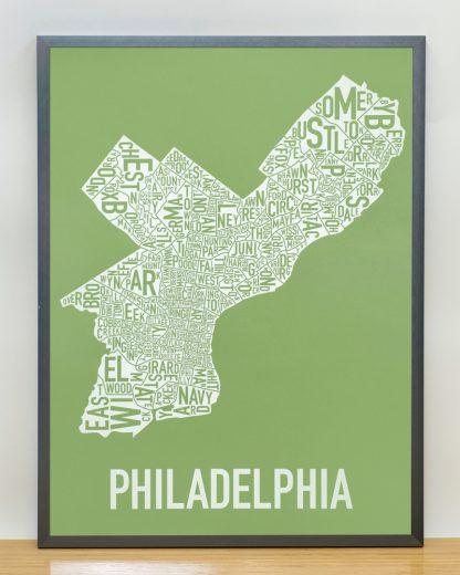 """Framed Philadelphia Neighborhood Map Screenprint, Green & White, 18"""" x 24"""" in Steel Grey Frame"""