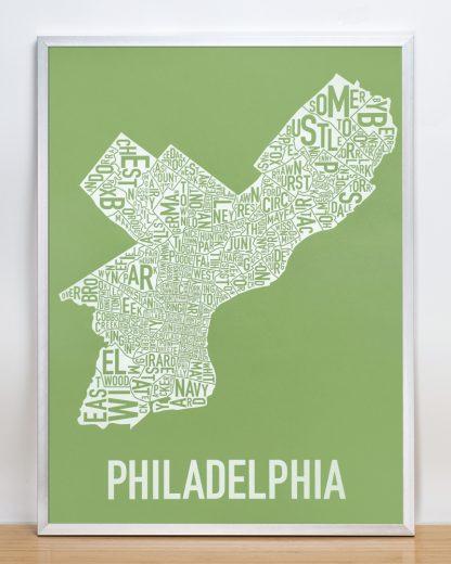 """Framed Philadelphia Neighborhood Map Screenprint, Green & White, 18"""" x 24"""" in Silver Frame"""