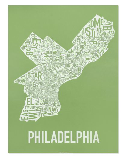 "Philadelphia Neighborhood Map Screenprint, Green & White, 18"" x 24"""