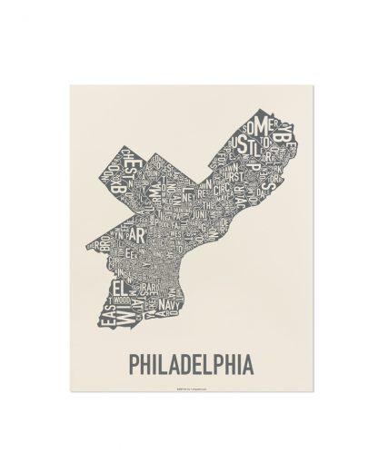 "Philly Neighborhood Map Screenprint, Ivory & Grey, 11"" x 14"""