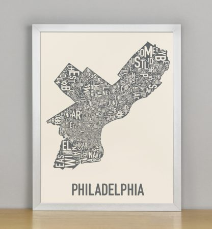 "Framed Philly Neighborhood Map Screenprint, Ivory & Grey, 11"" x 14"" in Silver Frame"