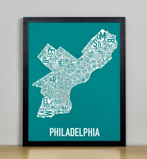 "Framed Philadelphia Typographic Neighborhood Map Screenprint, Teal & White, 11"" x 14"" in Black Frame"
