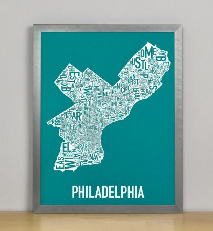 "Framed Philadelphia Typographic Neighborhood Map Screenprint, Teal & White, 11"" x 14"" in Steel Grey Frame"