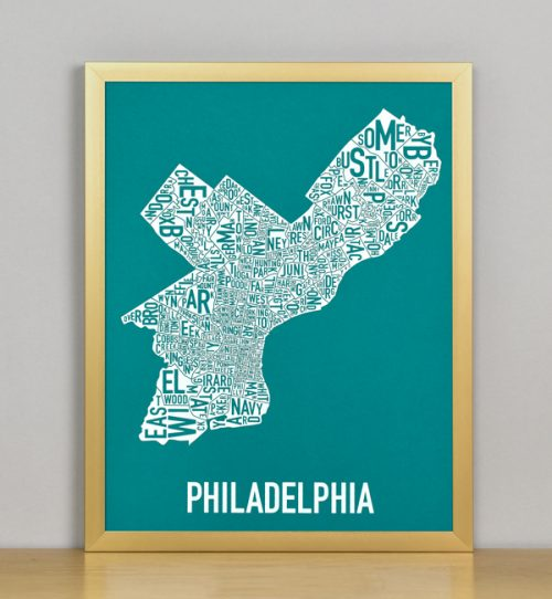 "Framed Philadelphia Typographic Neighborhood Map Screenprint, Teal & White, 11"" x 14"" in Bronze Frame"