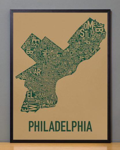 "Framed Philadelphia Neighborhood Map Screenprint, Tan & Green, 18"" x 24"" in Black Frame"