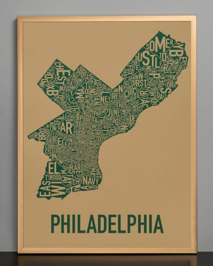 "Framed Philadelphia Neighborhood Map Screenprint, Tan & Green, 18"" x 24"" in Bronze Frame"