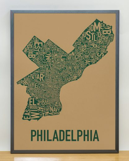 "Framed Philadelphia Neighborhood Map Screenprint, Tan & Green, 18"" x 24"" in Steel Grey Frame"
