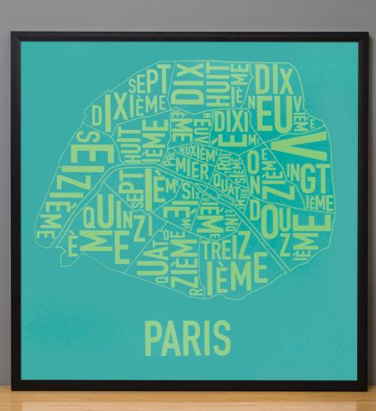 "Framed Paris Arrondissements Map Screenprint, Teal & Lime, 20"" x 20"" in Black Frame"