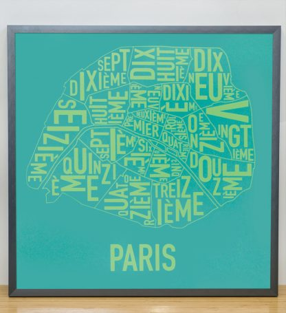 "Framed Paris Arrondissements Map Screenprint, Teal & Lime, 20"" x 20"" in Steel Grey Frame"