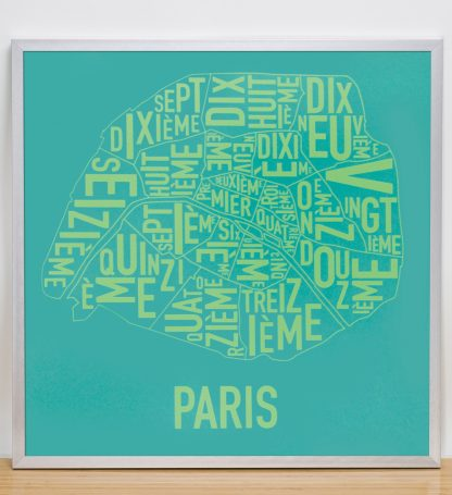"Framed Paris Arrondissements Map Screenprint, Teal & Lime, 20"" x 20"" in Silver Frame"