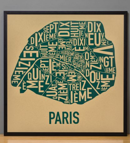 "Framed Paris Arrondissements Map Screenprint, Tan & Teal, 20"" x 20"" in Black Frame"