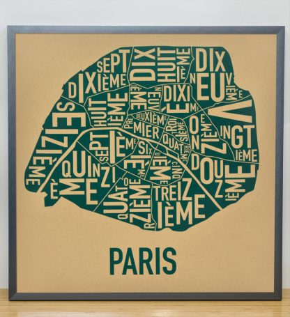 "Framed Paris Arrondissements Map Screenprint, Tan & Teal, 20"" x 20"" in Steel Grey Frame"