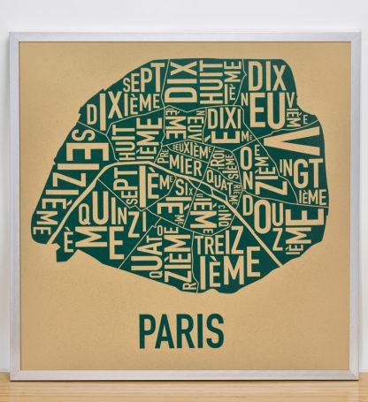 "Framed Paris Arrondissements Map Screenprint, Tan & Teal, 20"" x 20"" in Silver Frame"