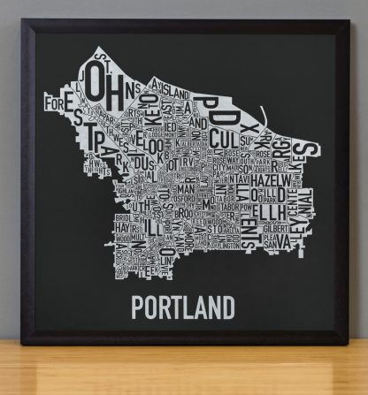 "Framed Portland Neighborhood Map, Black & White Screenprint, 12.5"" x 12.5"" in Black Frame"