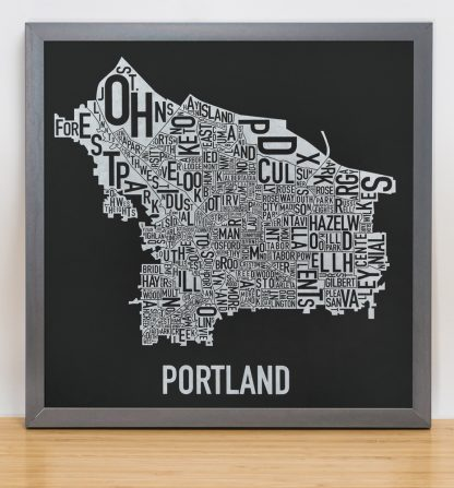 "Framed Portland Neighborhood Map, Black & White Screenprint, 12.5"" x 12.5"" in Steel Grey Frame"