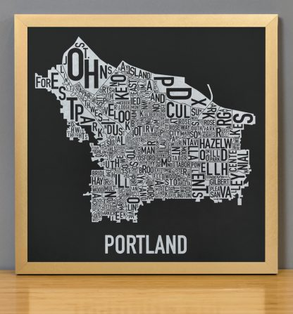 "Framed Portland Neighborhood Map, Black & White Screenprint, 12.5"" x 12.5"" in Bronze Frame"