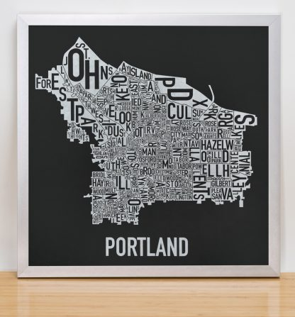 "Framed Portland Neighborhood Map, Black & White Screenprint, 12.5"" x 12.5"" in Silver Frame"