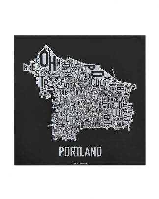 "Portland Neighborhood Map, Black & White Screenprint, 12.5"" x 12.5"""