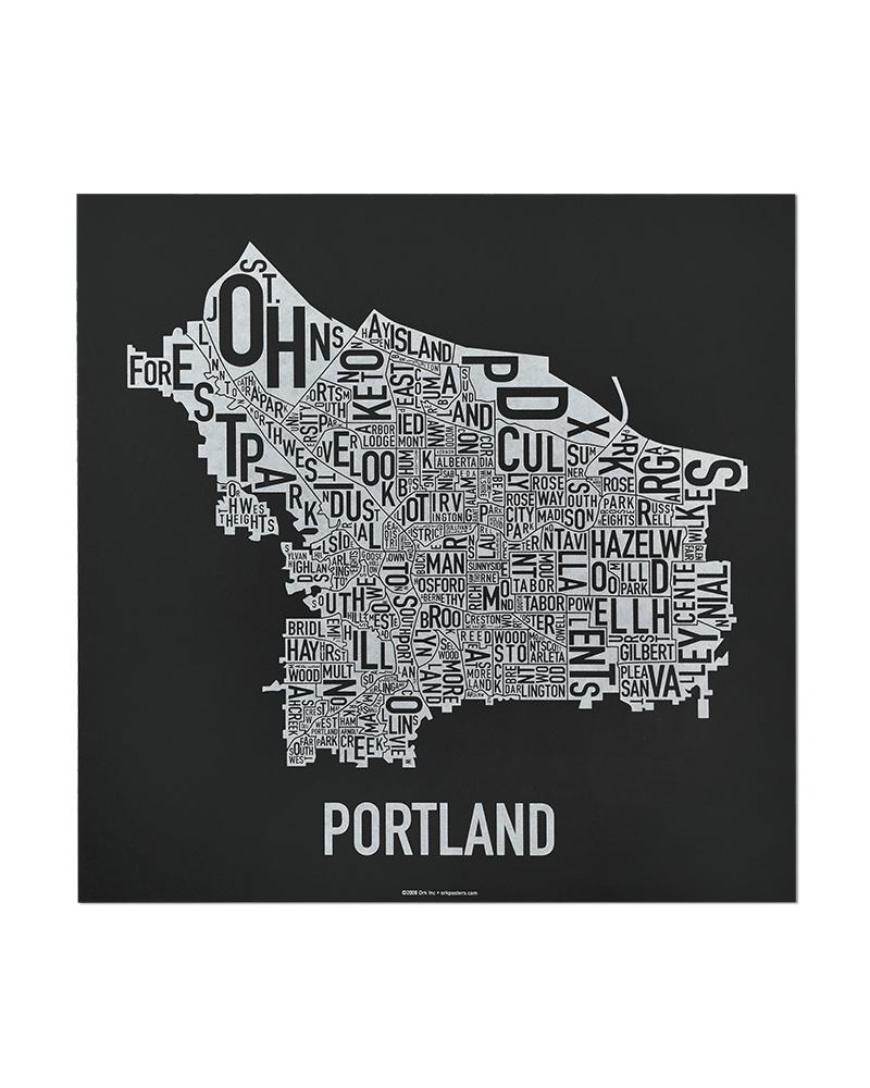 Portland Neighborhood Map 12 5″ x 12 5″ Black & White Screenprint