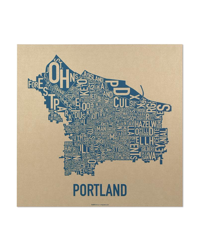 Portland Oregon Map Of Neighborhoods.Portland Neighborhoods Map The Hippest Poster Of Portland In The