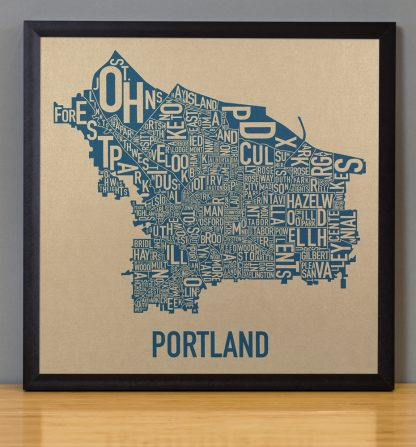 "Framed Portland Oregon Neighborhood Map, Gold & Blue Screenprint, 12.5"" x 12.5"" in Black Frame"