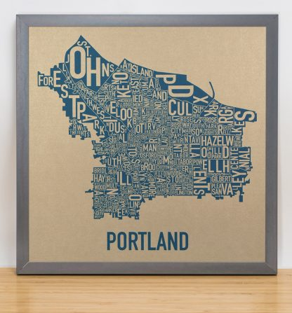 "Framed Portland Oregon Neighborhood Map, Gold & Blue Screenprint, 12.5"" x 12.5"" in Steel Grey Frame"