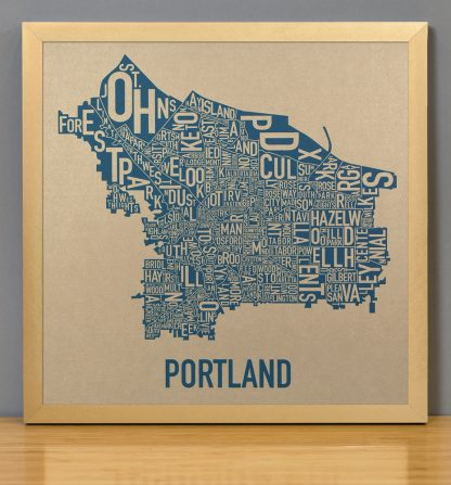 "Framed Portland Oregon Neighborhood Map, Gold & Blue Screenprint, 12.5"" x 12.5"" in Bronze Frame"