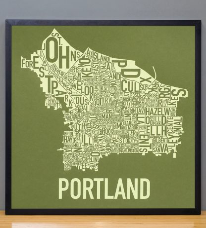 "Framed Portland Neighborhood Map Screenprint, Green & Green, 18"" x 18"" in Black Frame"