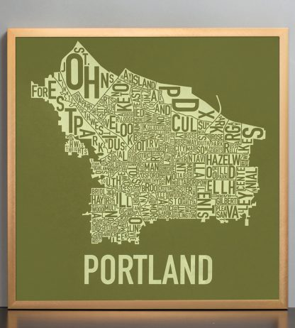 "Framed Portland Neighborhood Map Screenprint, Green & Green, 18"" x 18"" in Bronze Frame"