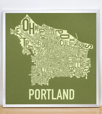 "Framed Portland Neighborhood Map Screenprint, Green & Green, 18"" x 18"" in Silver Frame"