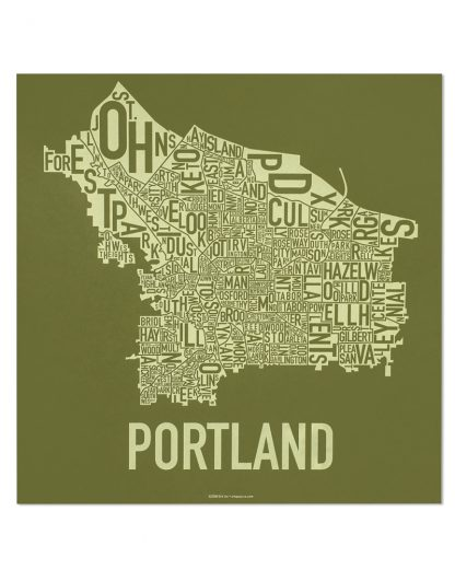 "Portland Neighborhood Map Screenprint, Green & Green, 18"" x 18"""
