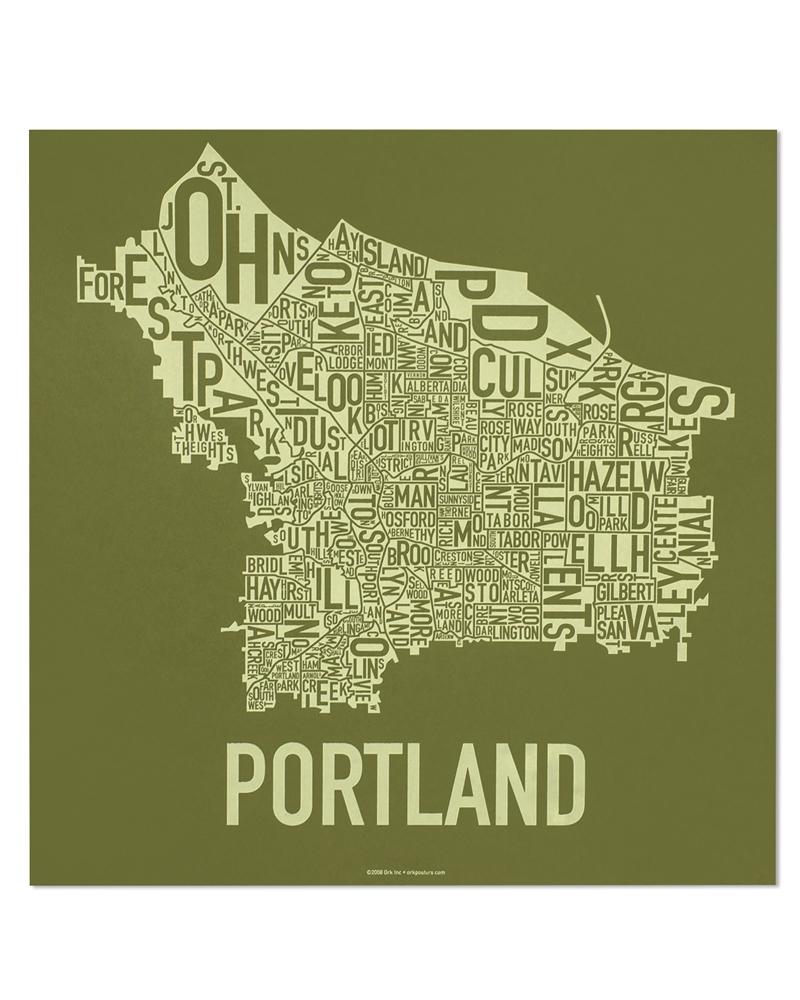 Portland Neighborhood Map 18 X 18 Going Green Screenprint - Portland-on-us-map