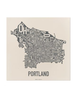 "Portland Neighborhood Map, 12.5"" x 12.5"", Ivory & Grey Screenprint"