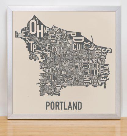 "Framed Portland Neighborhood Map, 12.5"" x 12.5"", Ivory & Grey Screenprint in Silver Frame"
