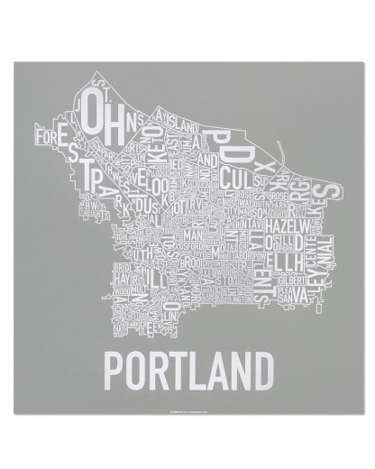 "Portland Neighborhood Map, Grey & White Screenprint, 18"" x 18"""
