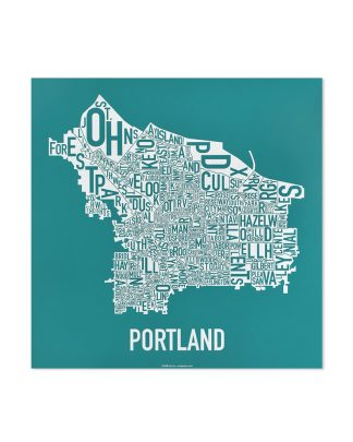 "Portland Neighborhood Map Screenprint, Teal & White, 12.5"" x 12.5"""