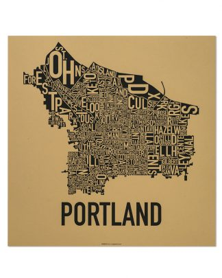 "Portland Neighborhood Map Screenprint, Tan & Black, 18"" x 18"""
