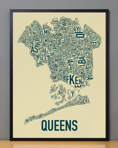 "Framed Queens Neighborhood Map, Tan & Navy Screenprint, 18"" x 24"" in Black Frame"