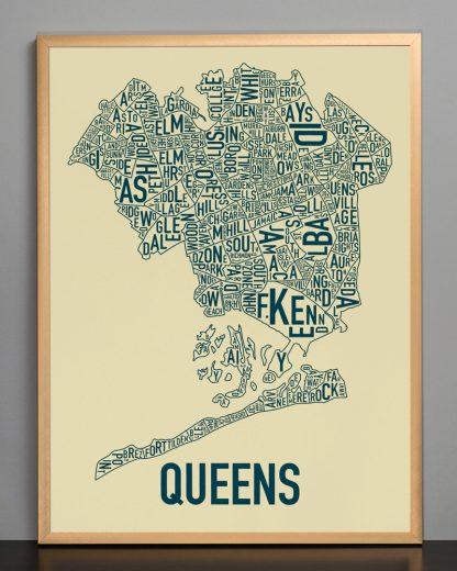 "Framed Queens Neighborhood Map, Tan & Navy Screenprint, 18"" x 24"" in Bronze Frame"